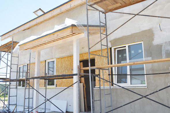 Construction and Renovation of the Rural House with Eaves, Windows, Doorway, Fixing Facade, Insulation, Plastering and Painting Exterior  House Wall.