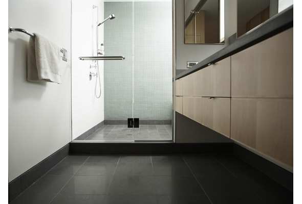 Shower stall with glass door in domestic bathroom