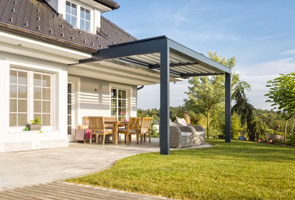 Modern Luxury House With a Teak Wooden Terrace, Modern, Luxury, Teak, Wooden, Terrace, Green, Grass, Windows, Sun, Blue Sky, Marble